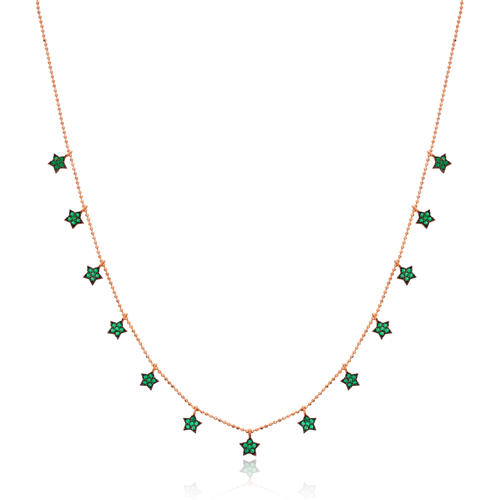 Emerald Stone Star Design Turkish Wholesale Handcrafted 925 Silver Necklace