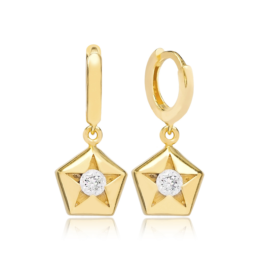 Star Dangle Earring Turkish Wholesale Handmade 925 Sterling Silver Jewelry