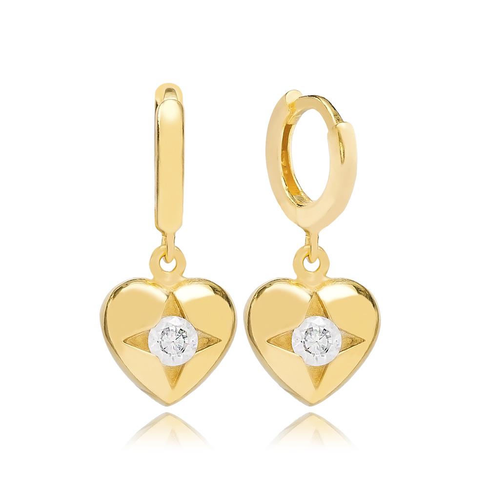 Star in Heart  Dangle Earring Turkish Wholesale Handmade 925 Sterling Silver Jewelry