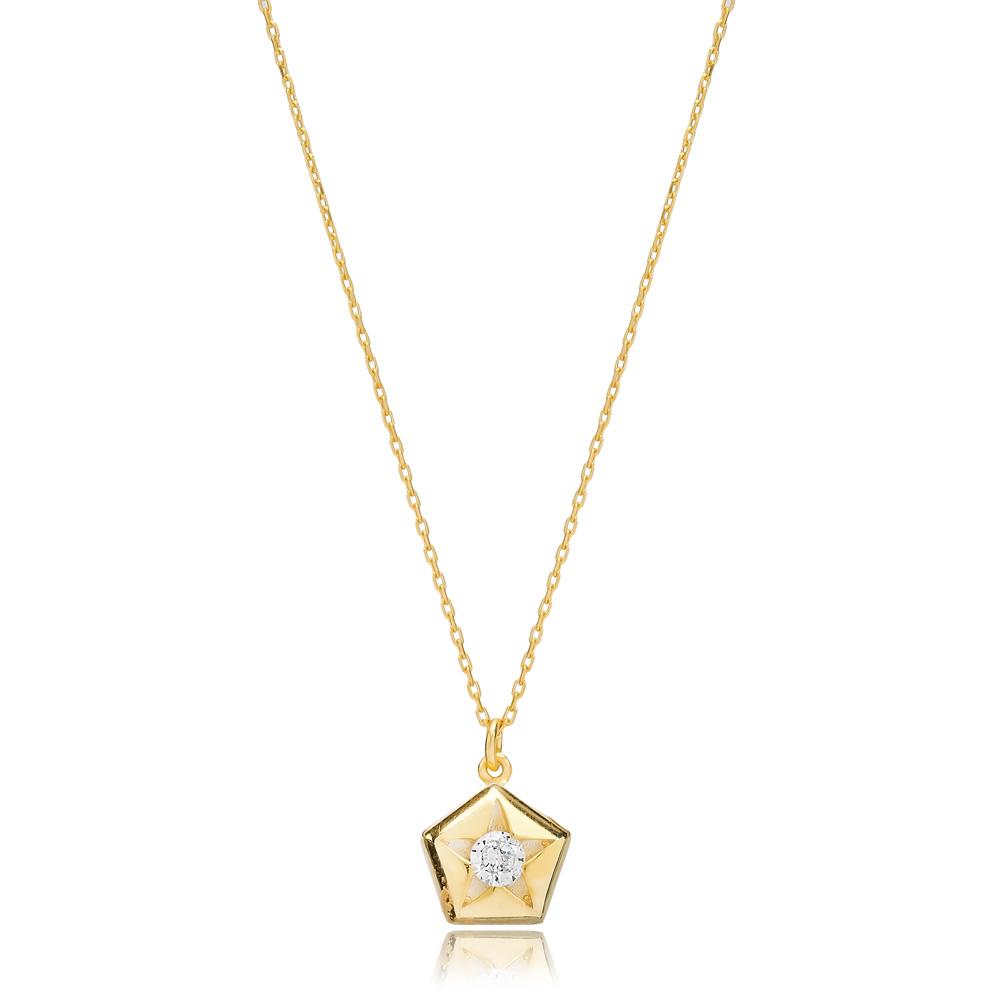 Star in Pentagon Design Pendant Turkish Handmade 925 Sterling Silver Jewelry