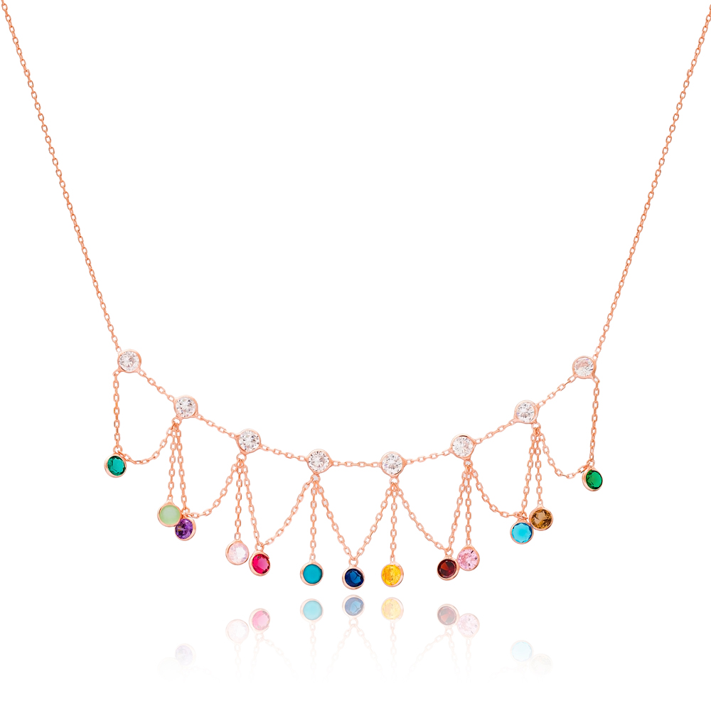 Mix Stone Wholesale 925 Sterling Silver Necklace