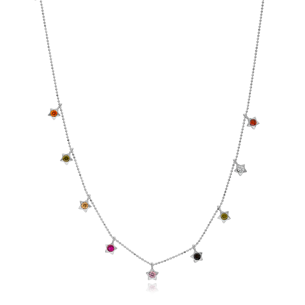Mix Stone Star Charm Necklace Wholesale Handmade 925 Silver Sterling Jewelry