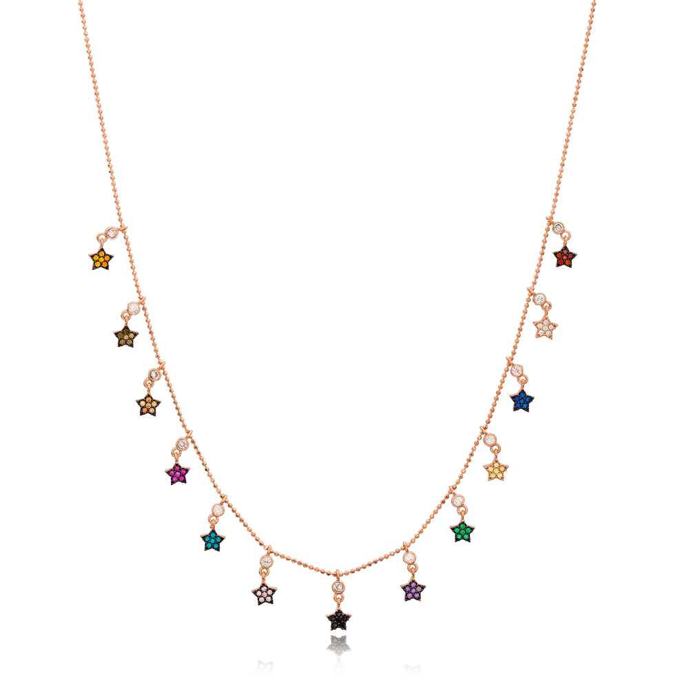 Rainbow Star Charm Jewelry Wholesale Handmade 925 Silver Sterling Necklace