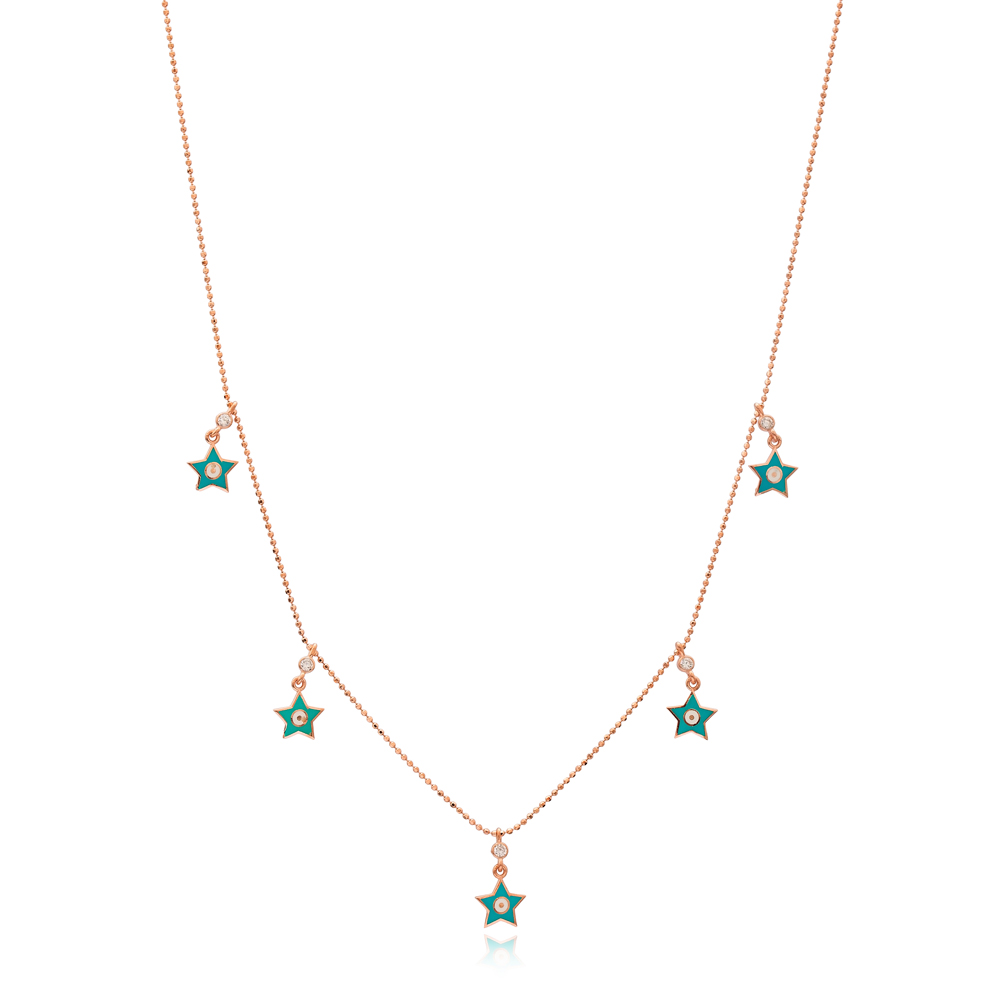 Turquoise Enamel Star Charm Jewelry Wholesale Handmade 925 Silver Sterling Necklace