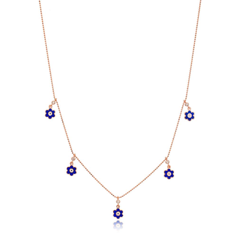 Blue Enamel Flower Charm Jewelry Wholesale Handmade 925 Silver Sterling Necklace
