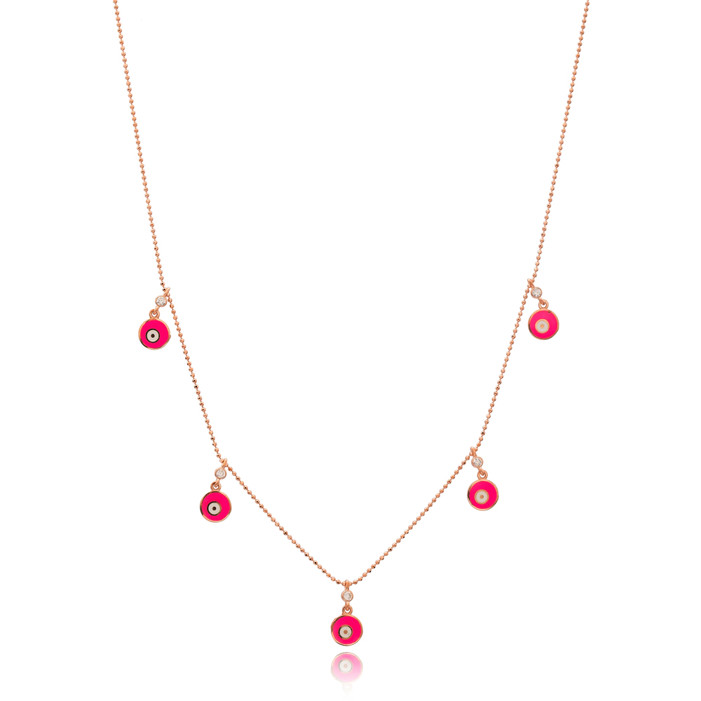 Pink Enamel Round Charm Jewelry Wholesale Handmade 925 Silver Sterling Necklace