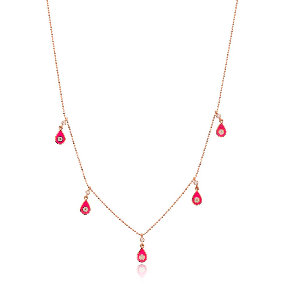 Pink Enamel Drop Charm Jewelry Wholesale Handmade 925 Silver Sterling Necklace