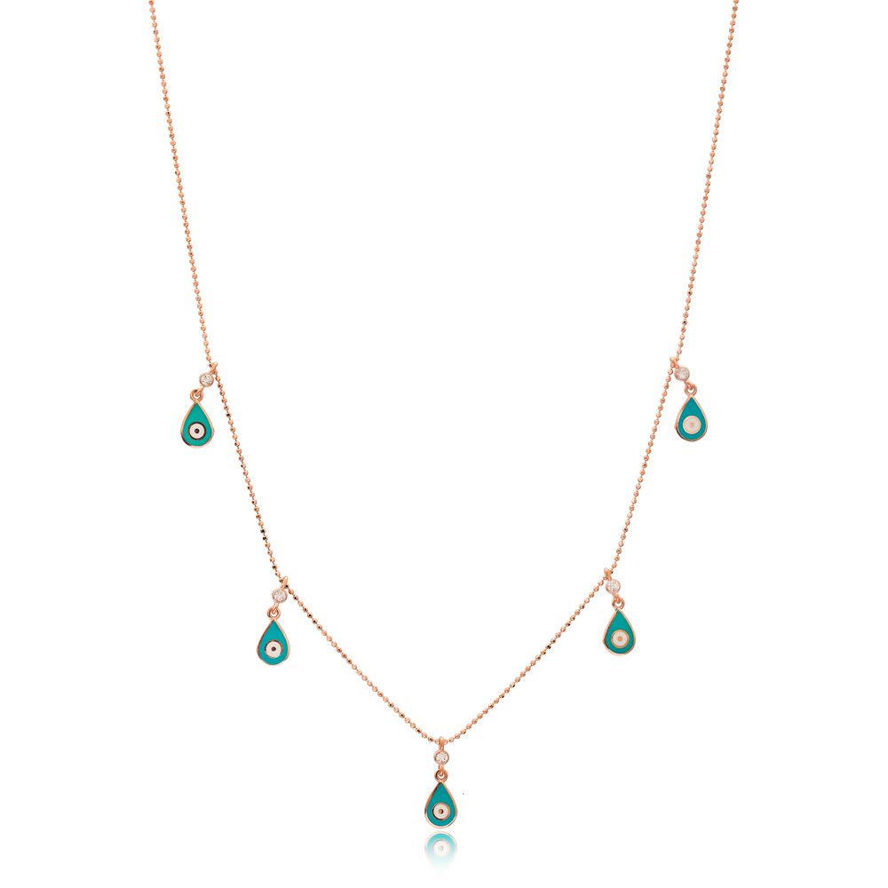 Turquoise Enamel Drop Charm Jewelry Wholesale Handmade 925 Silver Sterling Necklace