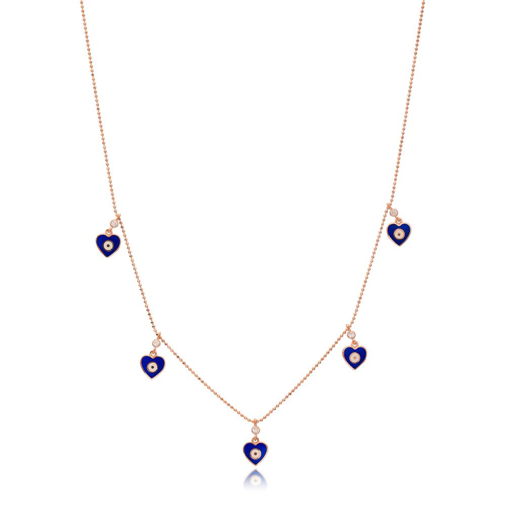 Blue Enamel Heart Charm Jewelry Wholesale Handmade 925 Silver Sterling Necklace