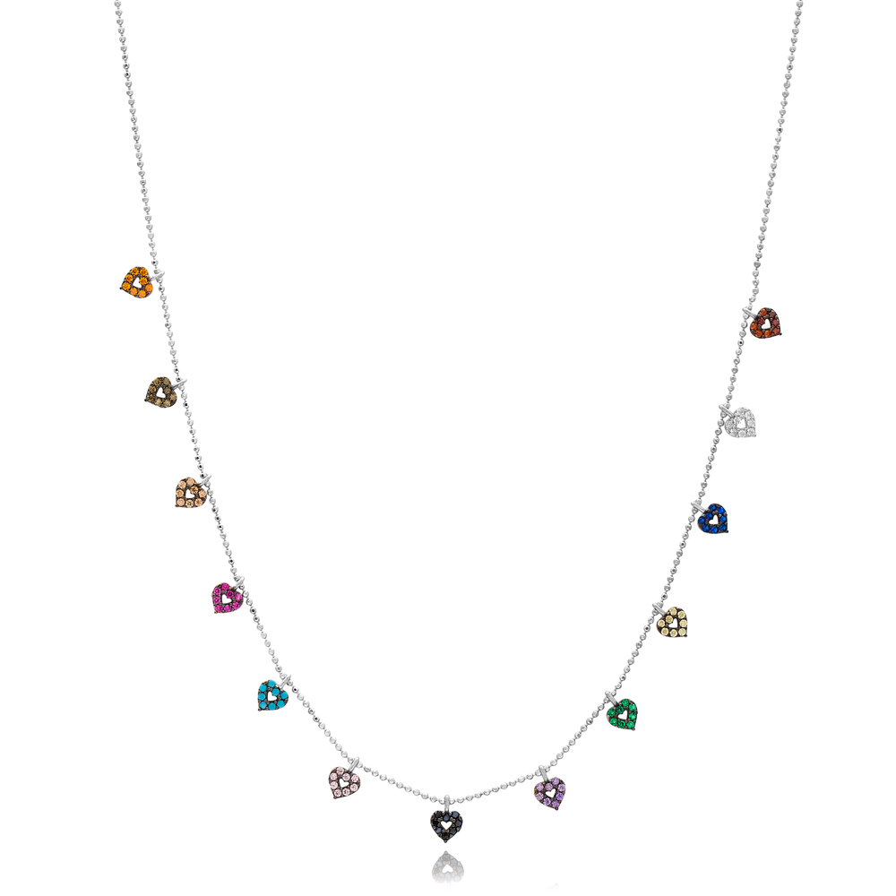 Colorful Heart Design Necklace Wholesale Handmade 925 Silver Sterling Jewelry