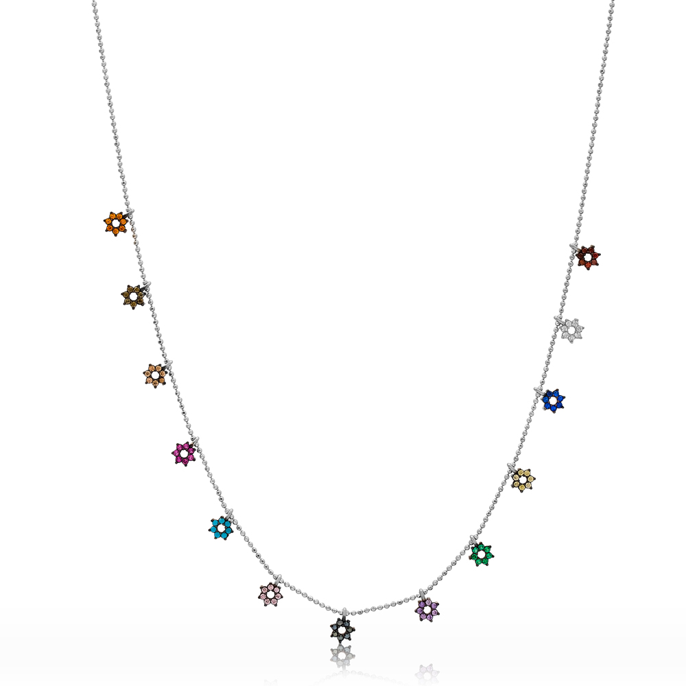 Rainbow Pole Star Design Necklace Wholesale Handmade 925 Silver Sterling Jewelry