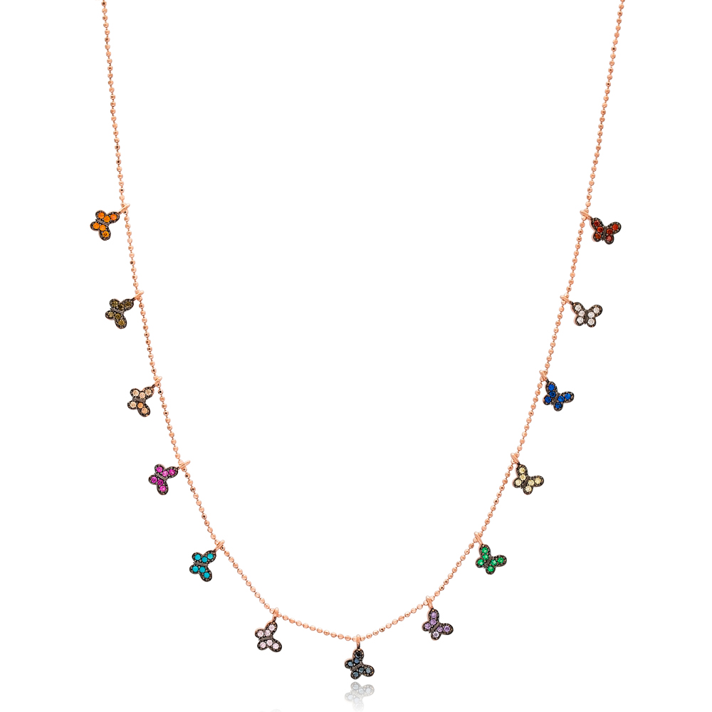 Colorful Butterfly Design Necklace Wholesale Handmade 925 Silver Sterling Jewelry