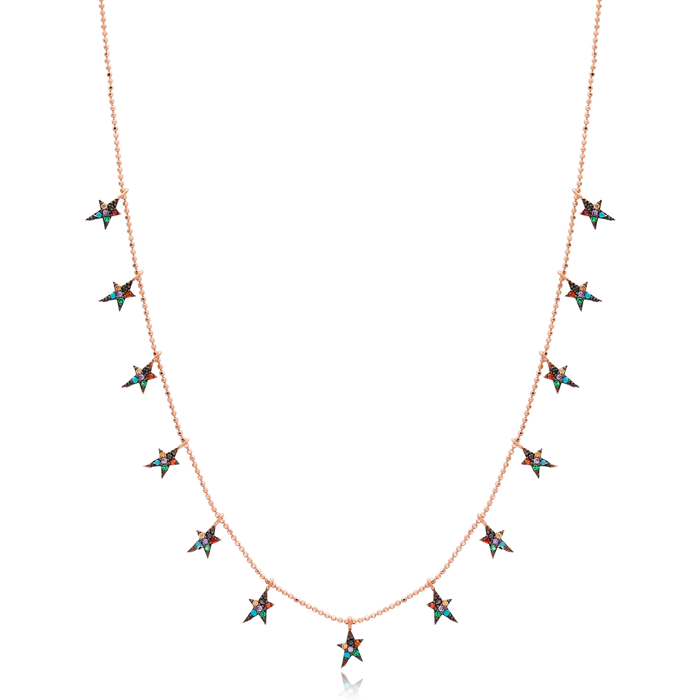 Rainbow North Star Design Necklace Wholesale Handmade 925 Silver Sterling Jewelry