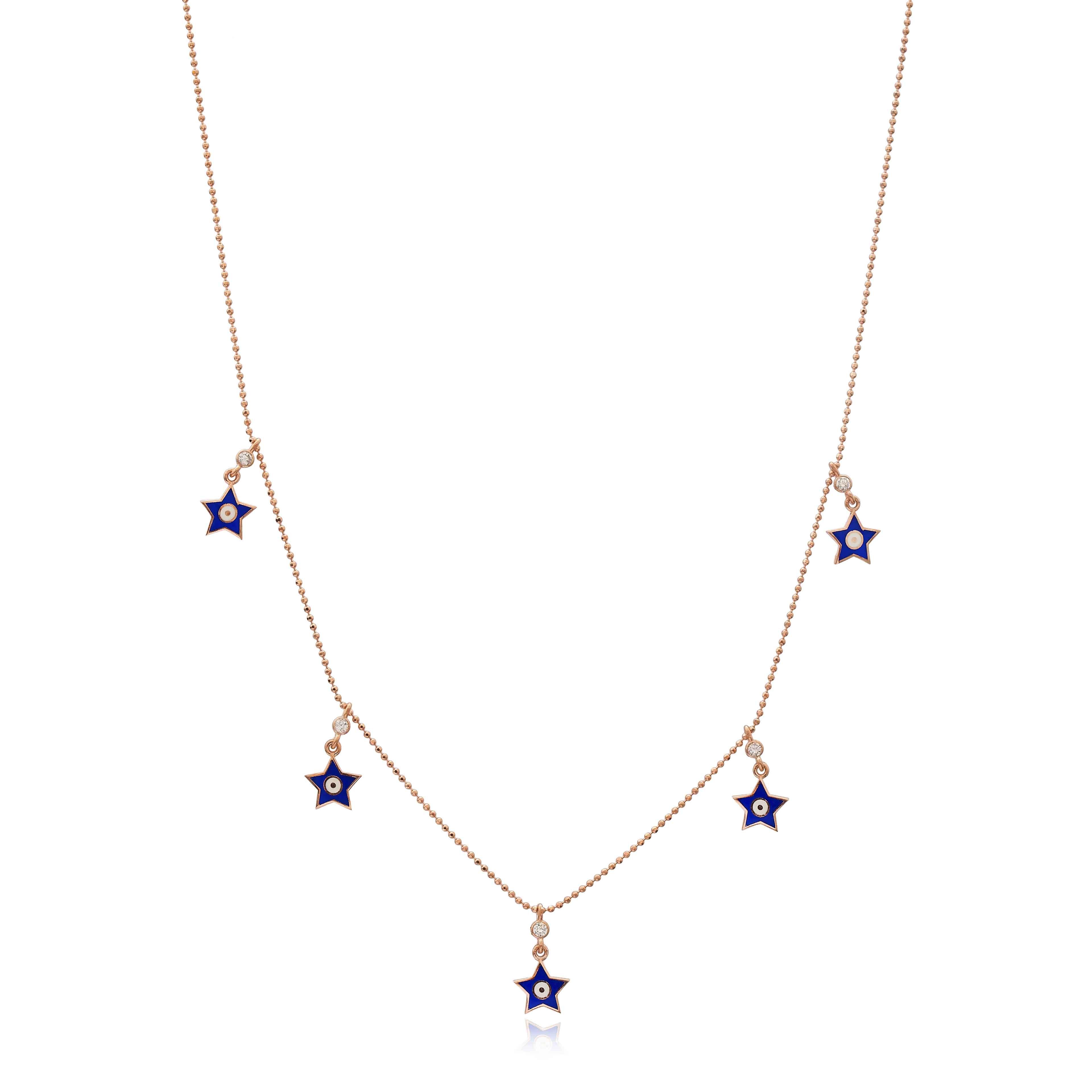 Blue Enamel Star Charm Jewelry Wholesale Handmade 925 Silver Sterling Necklace