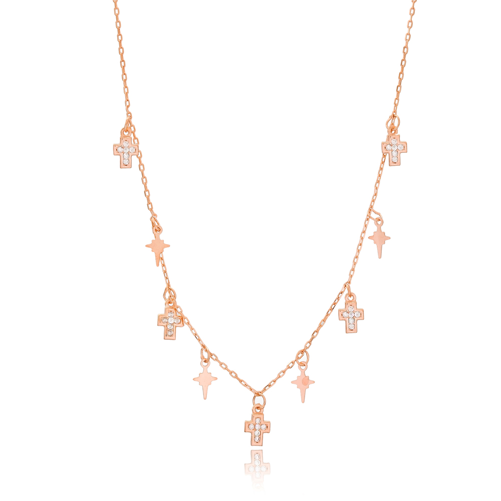 Cross and North Star Design Turkish Wholesale Handcrafted 925 Silver Necklace