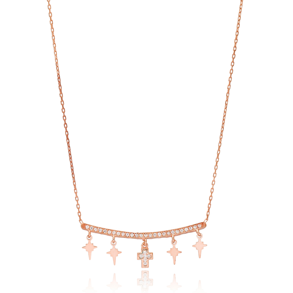 North Star and Cross Design Turkish Wholesale Handcrafted 925 Silver Necklace