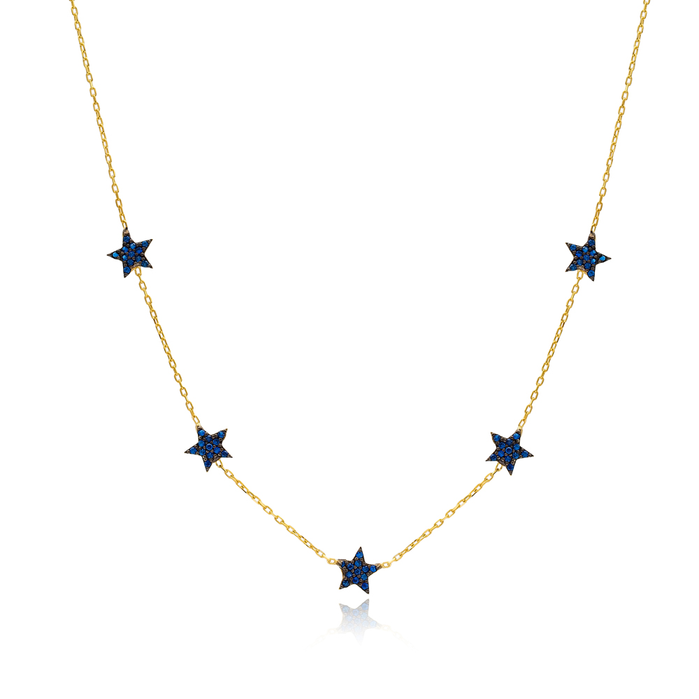 Sapphire Star Charm Necklace Wholesale Handmade 925 Silver Sterling Jewelry