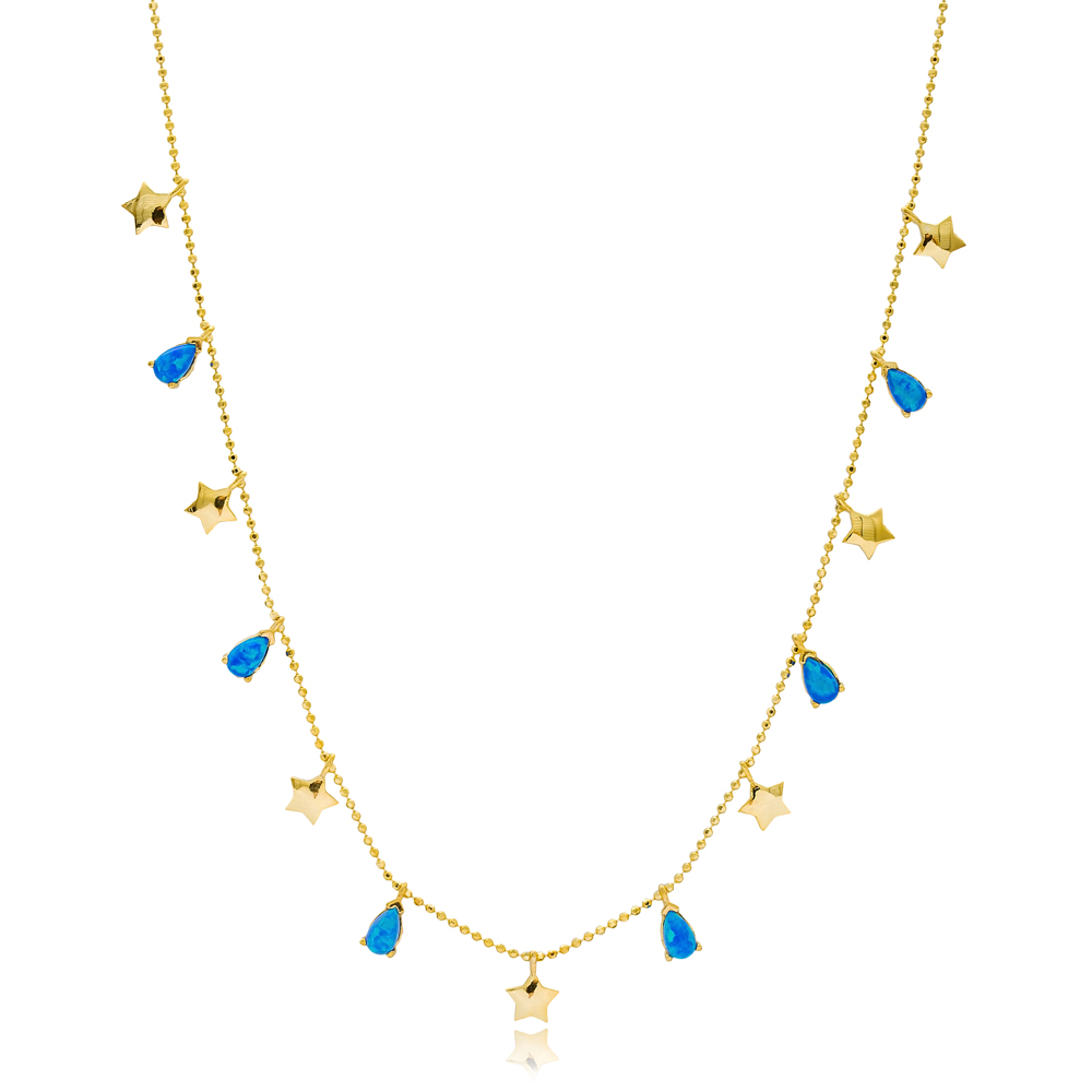 Opal Stone Drop and Star Charms Turkish Wholesale Handcrafted 925 Silver Necklace