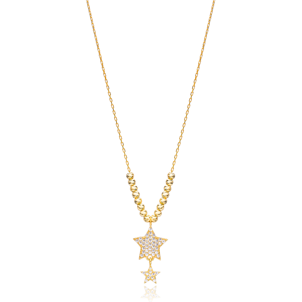 Beaded Design Star Charms Necklace Wholesale Handmade 925 Silver Sterling Jewelry