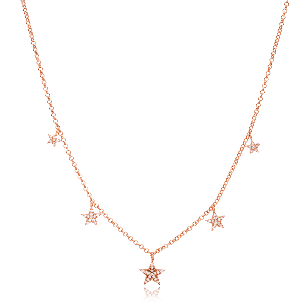 8x8 mm Size Star Design Charm Shaker Necklace Wholesale Turkish Handcrafted 925 Silver Jewelry