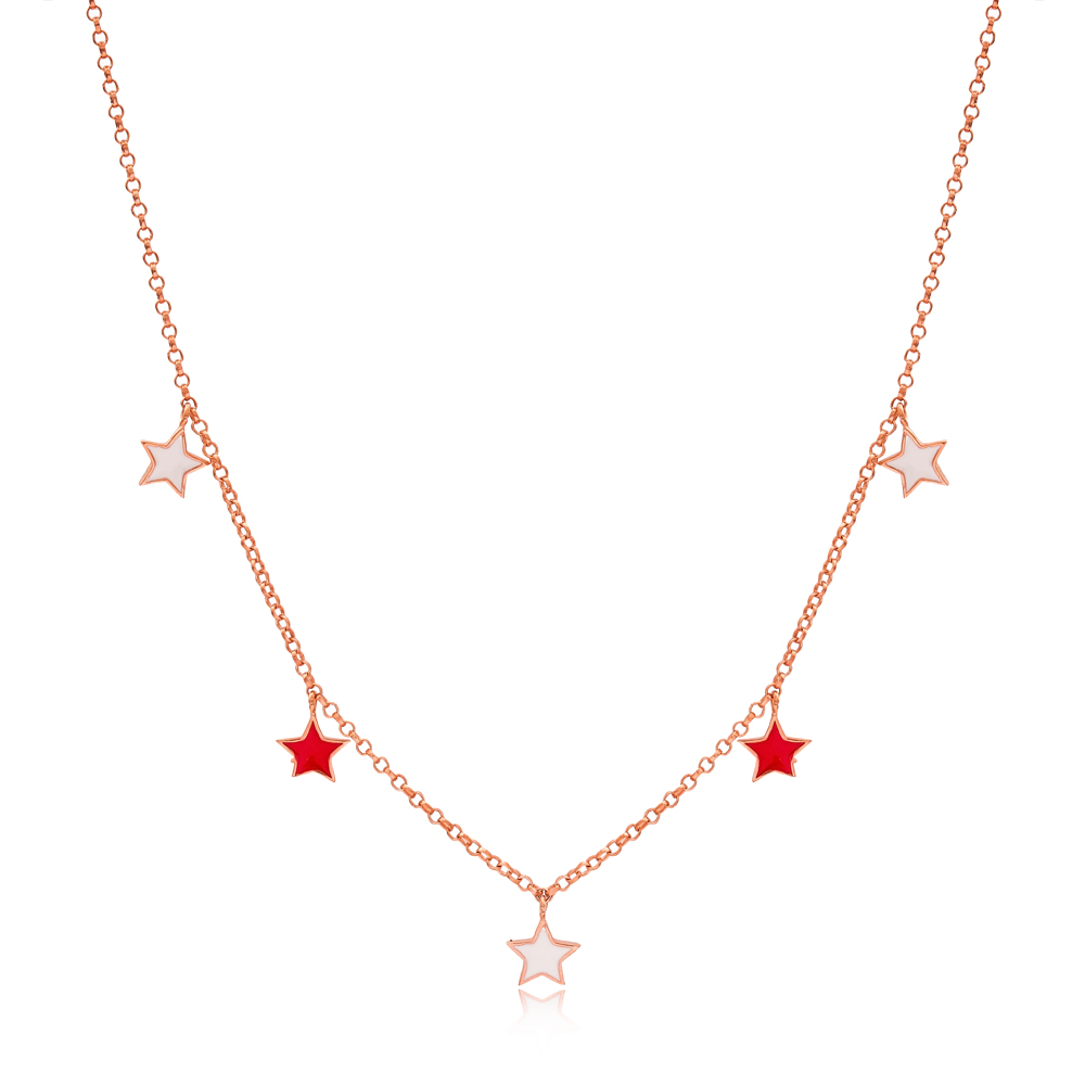 8x8 mm Size Red and White Enamel Star Design Charm Shaker Necklace Wholesale Turkish Handcrafted 925 Silver Jewelry