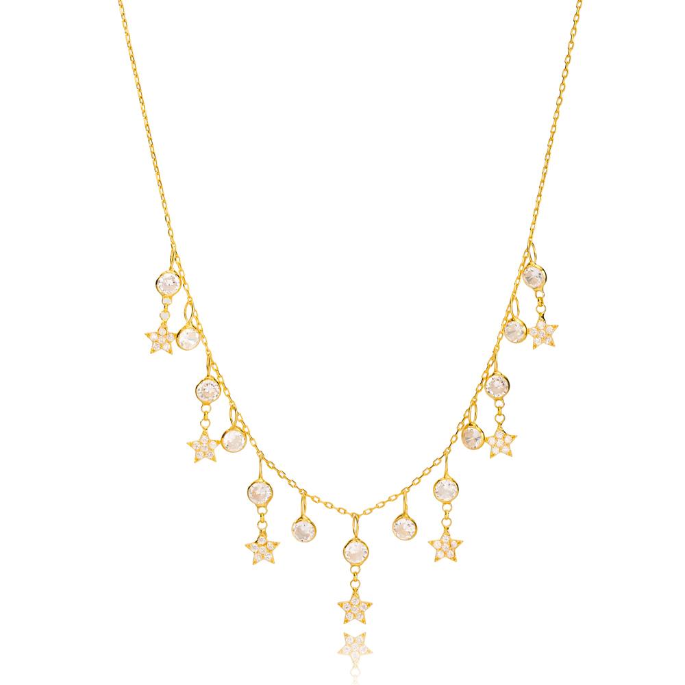 Elegant Zircon Stone Star Design Charm Shaker Necklace Wholesale Turkish Handcrafted 925 Silver Jewelry