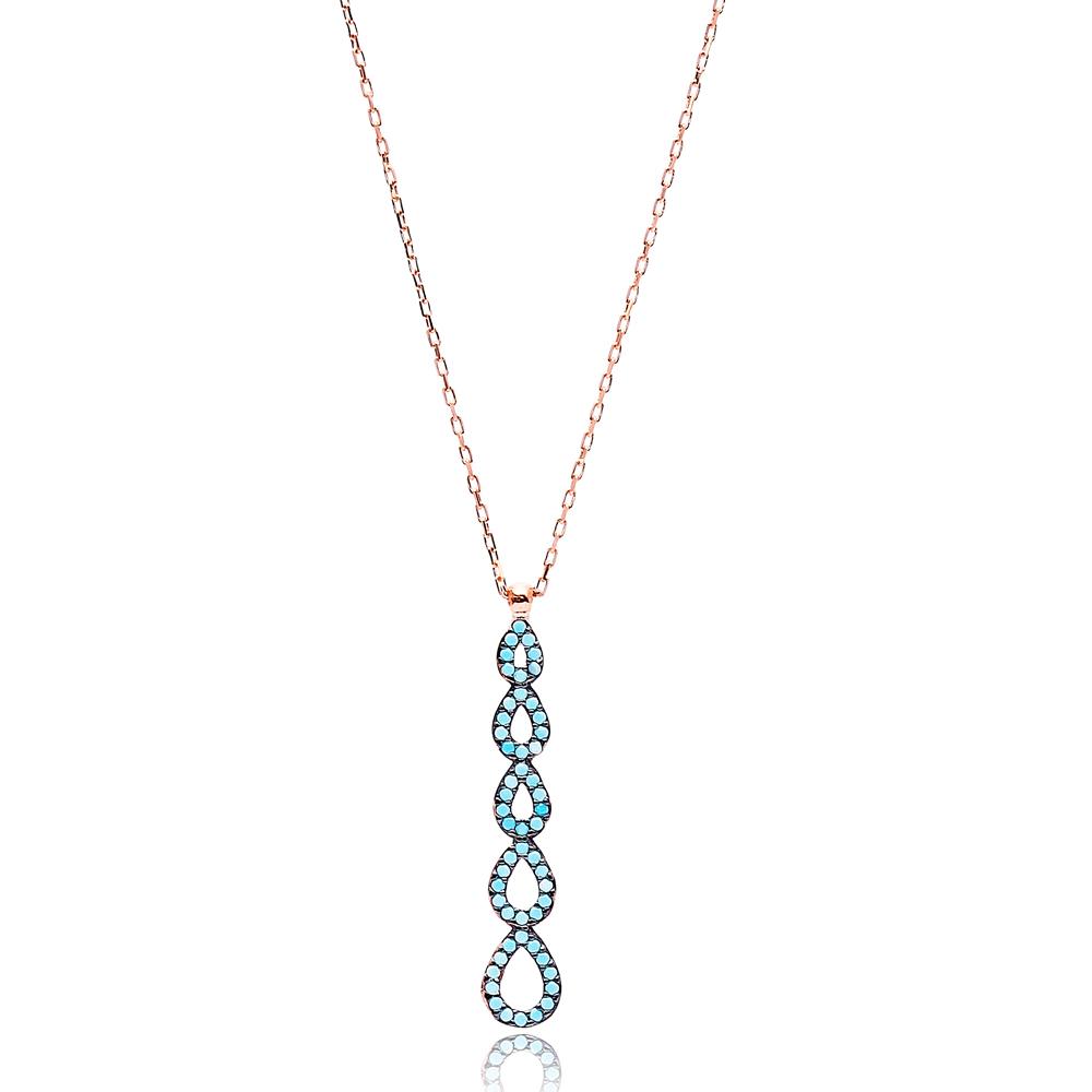 Nano Turquoise Drop Design Turkish Wholesale Silver Pendant
