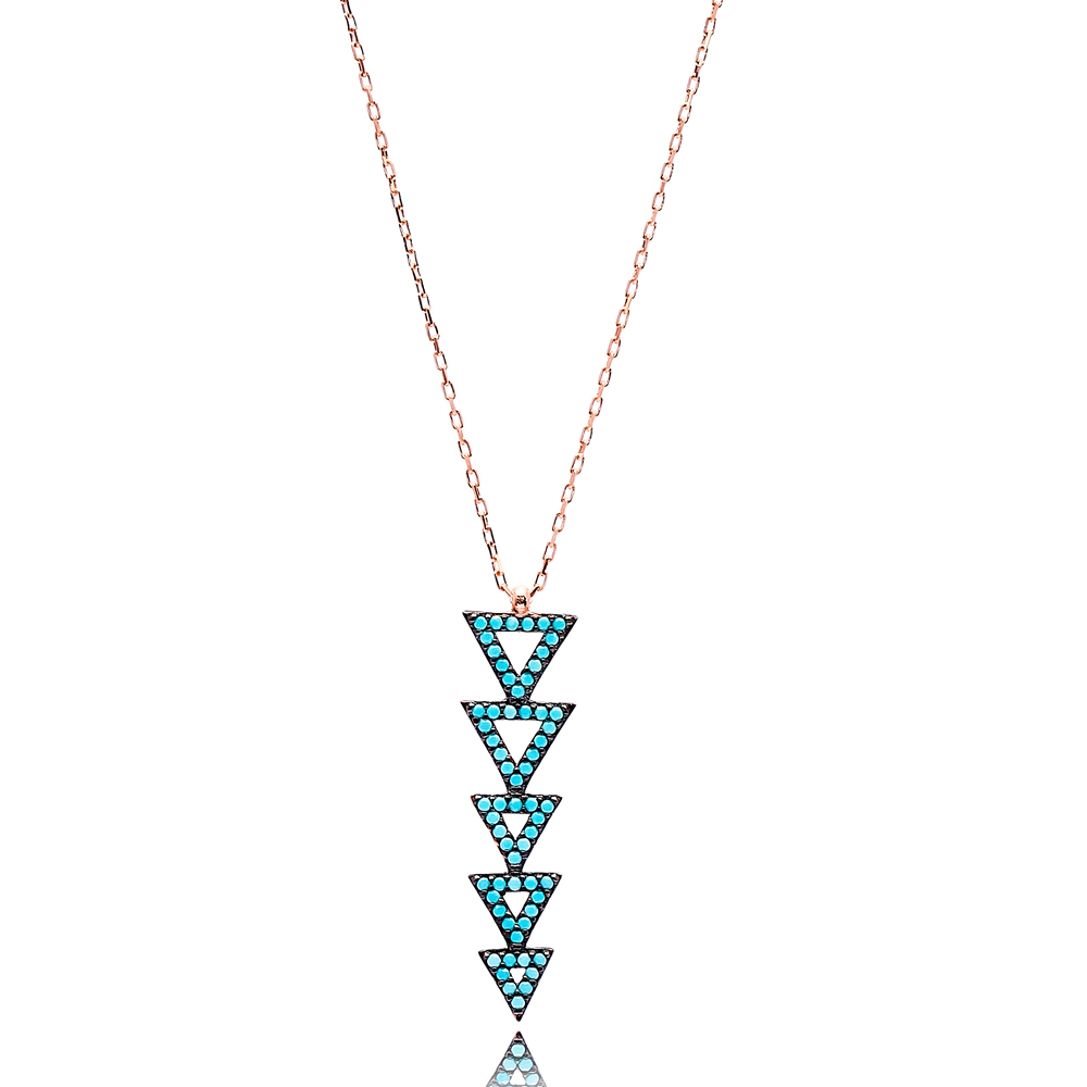 Nano Turquoise Triangle Shape Turkish Wholesale Silver Pendant