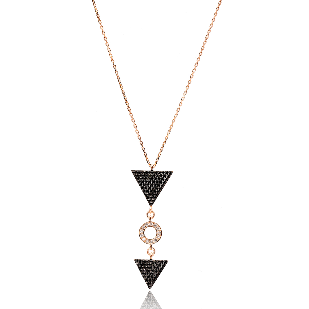 Triangle Black Zircon Turkish Wholesale Sterling Silver Pendant