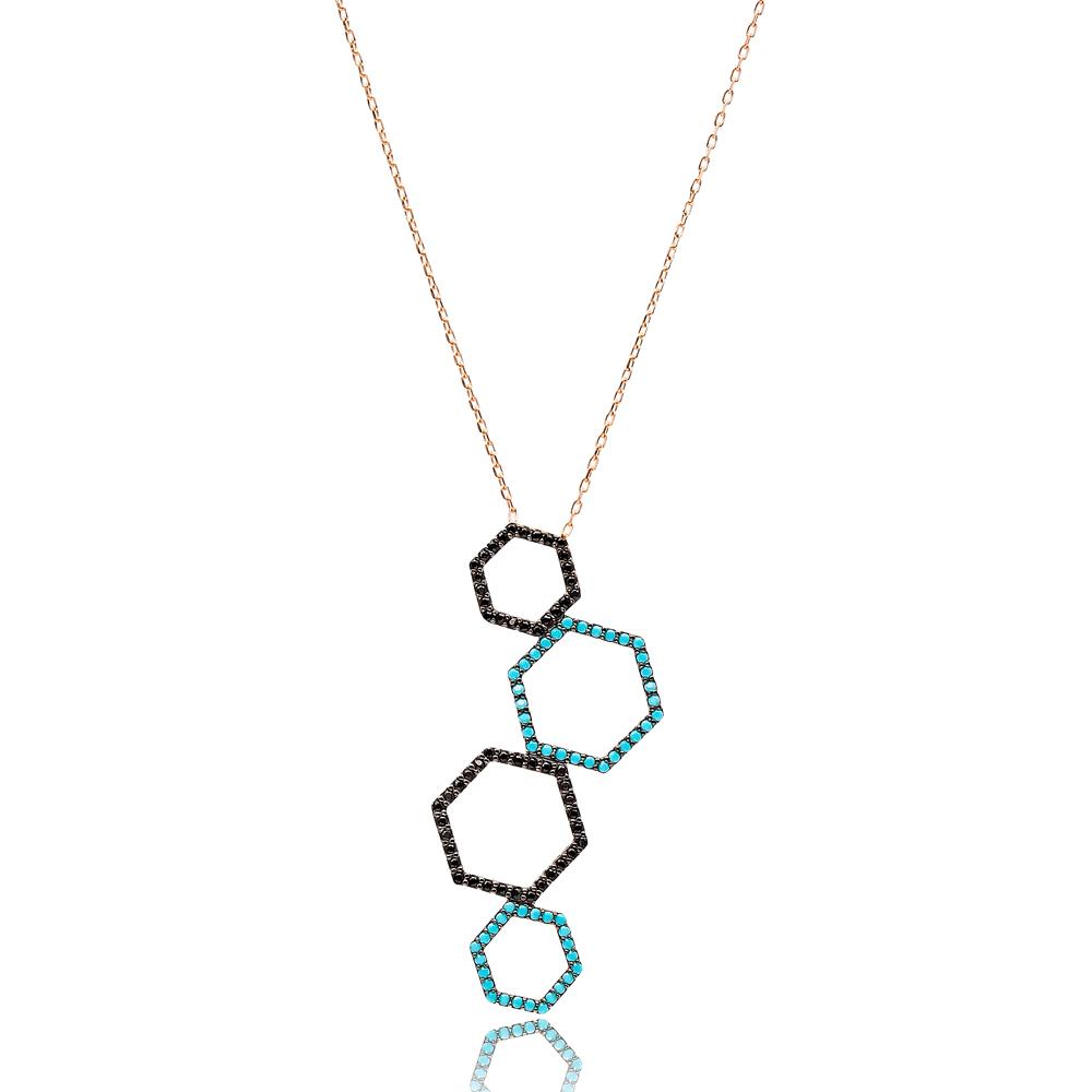 Hexagon Design Turkish Wholesale Sterling Silver Pendant Jewelry