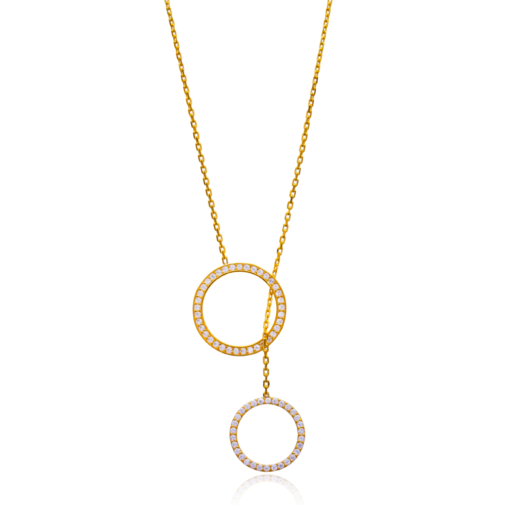 Open Circle Y Necklace In Turkish Wholesale 925 Sterling Silver