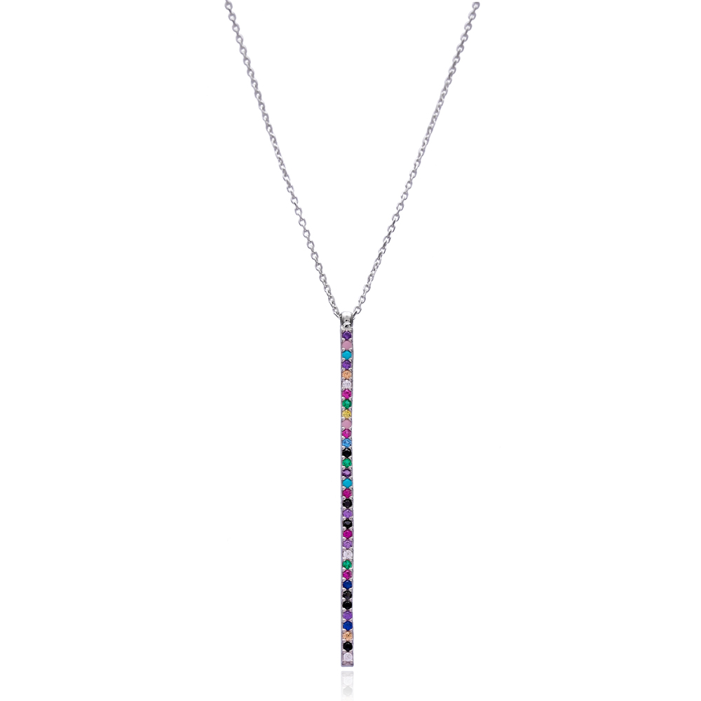 Thin Pave Bar Mix Stone Turkish Wholesale Silver Pendant
