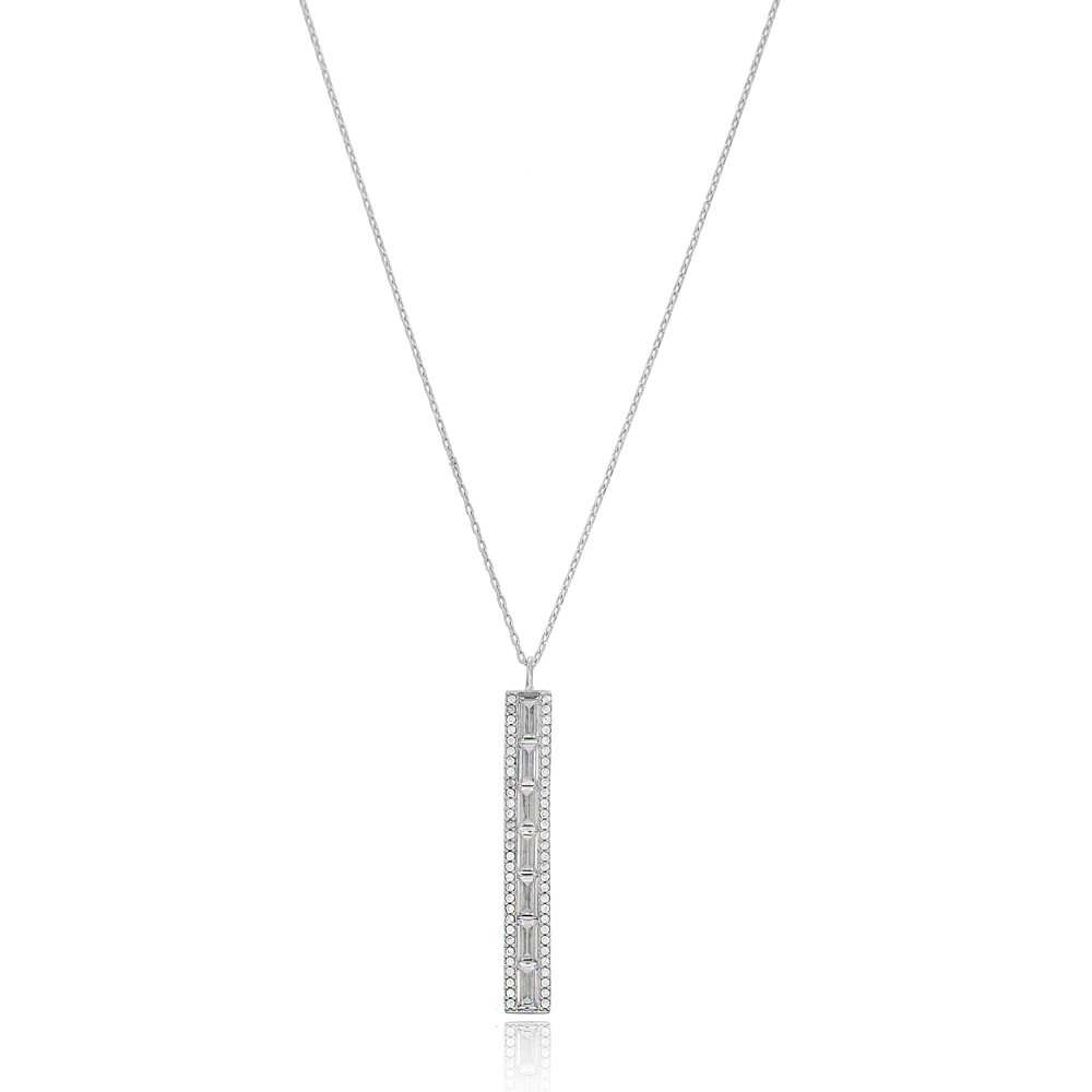 Zircon Stone Baguette Shape Silver Pendant Wholesale Sterling Silver Jewelry