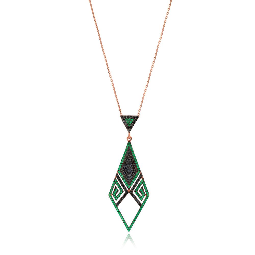 Emerald Stone Lozeng Pendant Turkish Wholesale Sterling Silver Jewelry