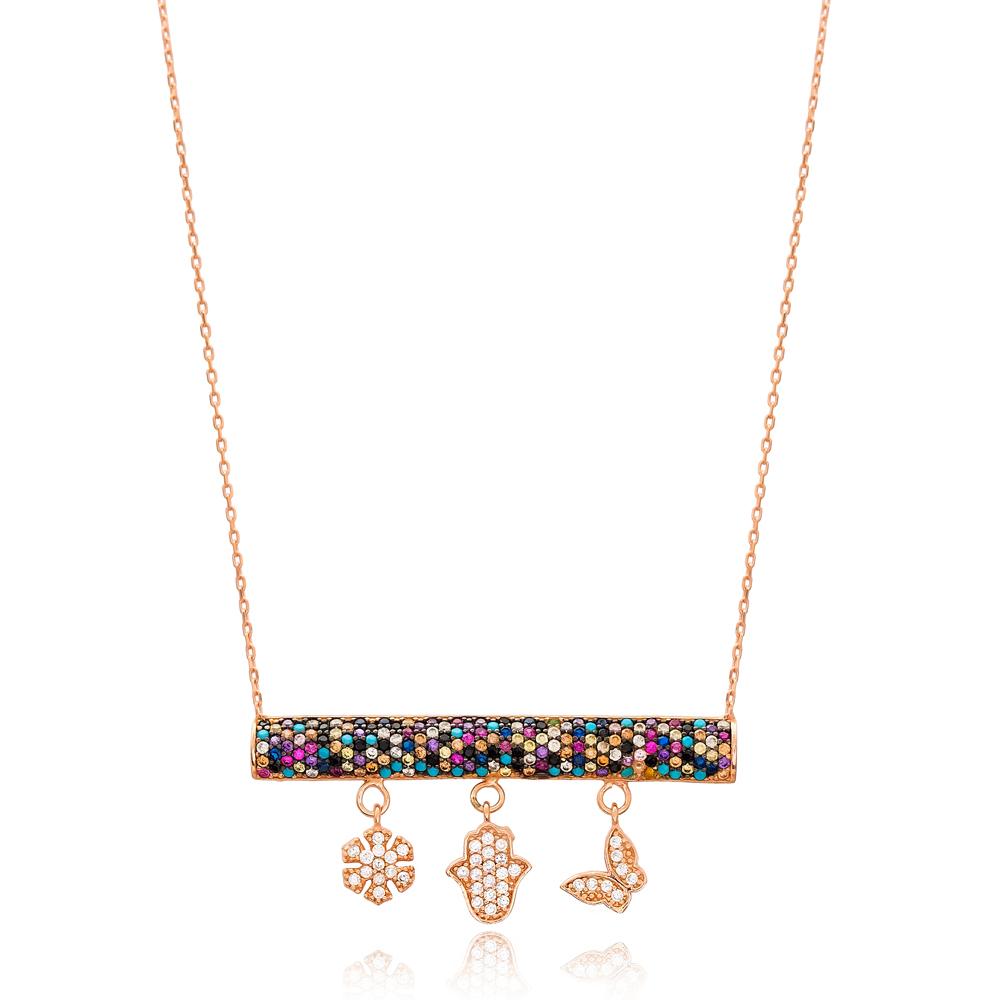 Rainbow Minimalist Charm Wholesale Handmade Turkish 925 Silver Sterling Necklace