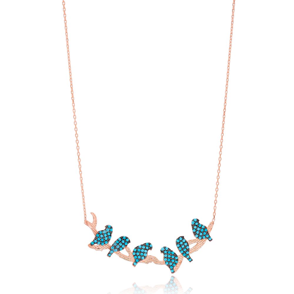 Turquoise Birds Necklace Wholesale Handmade 925 Silver Sterling Jewelry