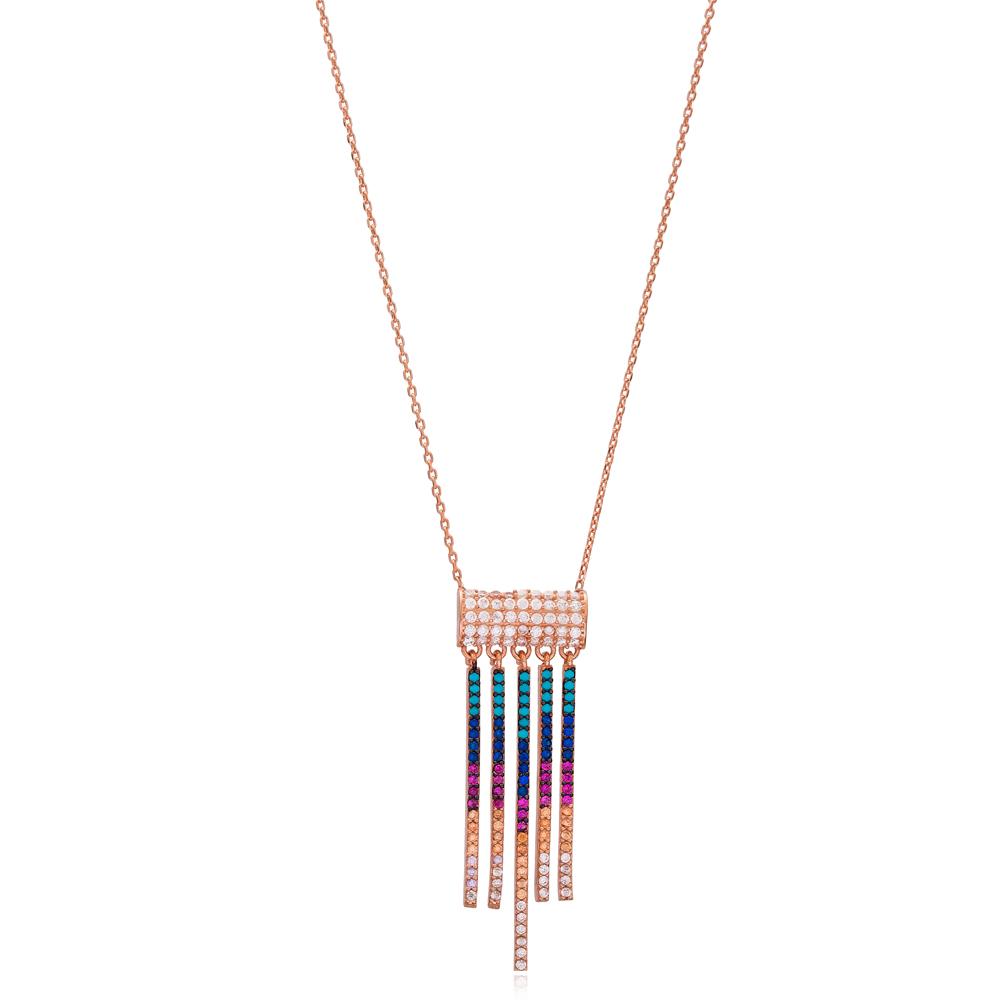 Rainbow Long Pendant Wholesale Handmade 925 Silver Sterling Jewelry