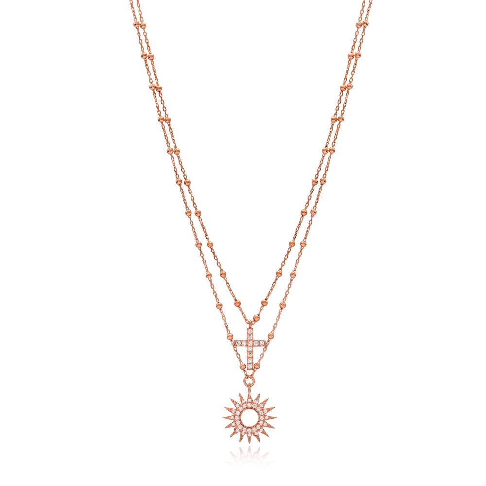 Sun And Cross Design Pendant Turkish Handmade Wholesale 925 Sterling Silver Jewelry