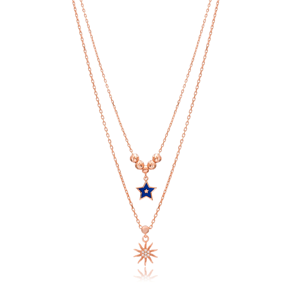 Sun and Star Layered Design Pendant Wholesale 925 Sterling Silver Jewelry