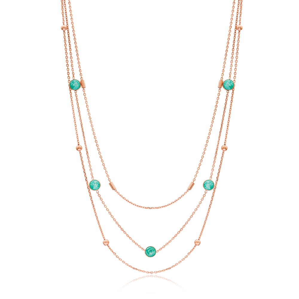 Layered Trendy Color Turkish Fashion 925 Sterling Silver Necklace