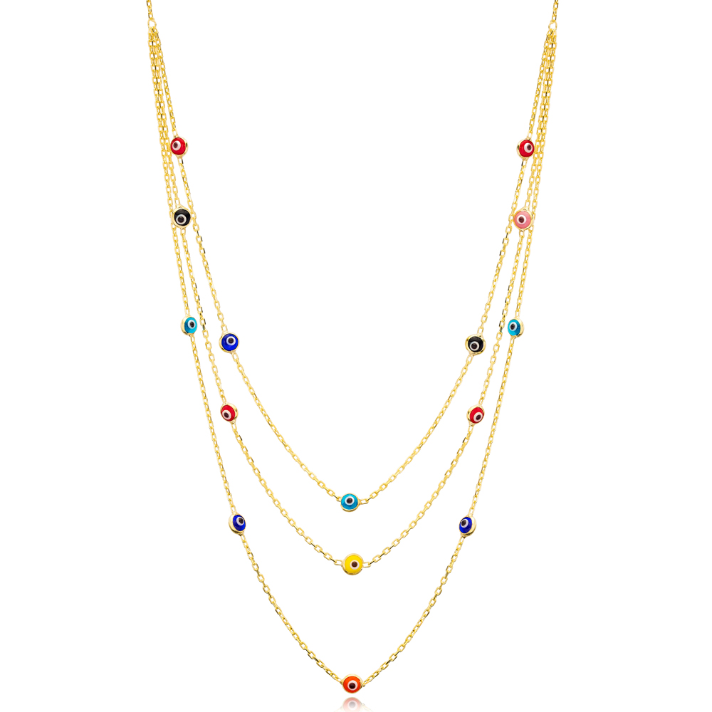 Multi Color Evil Eye Design Layered Necklace Wholesale Turkish Handmade 925 Sterling Silver Jewelry
