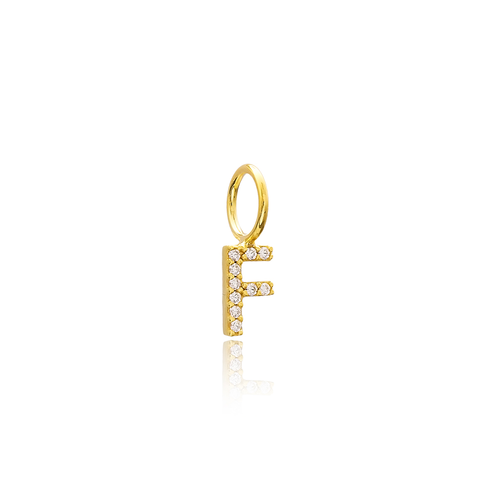F Letter Charm Pendant Wholesale Handmade Turkish 925 Silver Sterling Jewelry With Hole Ø7 mm