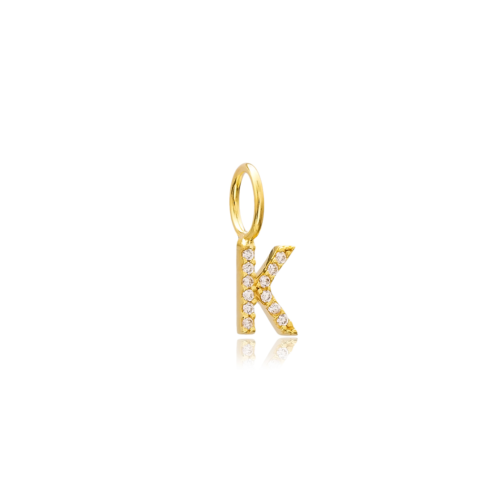K Letter Charm Pendant Wholesale Handmade Turkish 925 Silver Sterling Jewelry  With Hole Ø7 mm