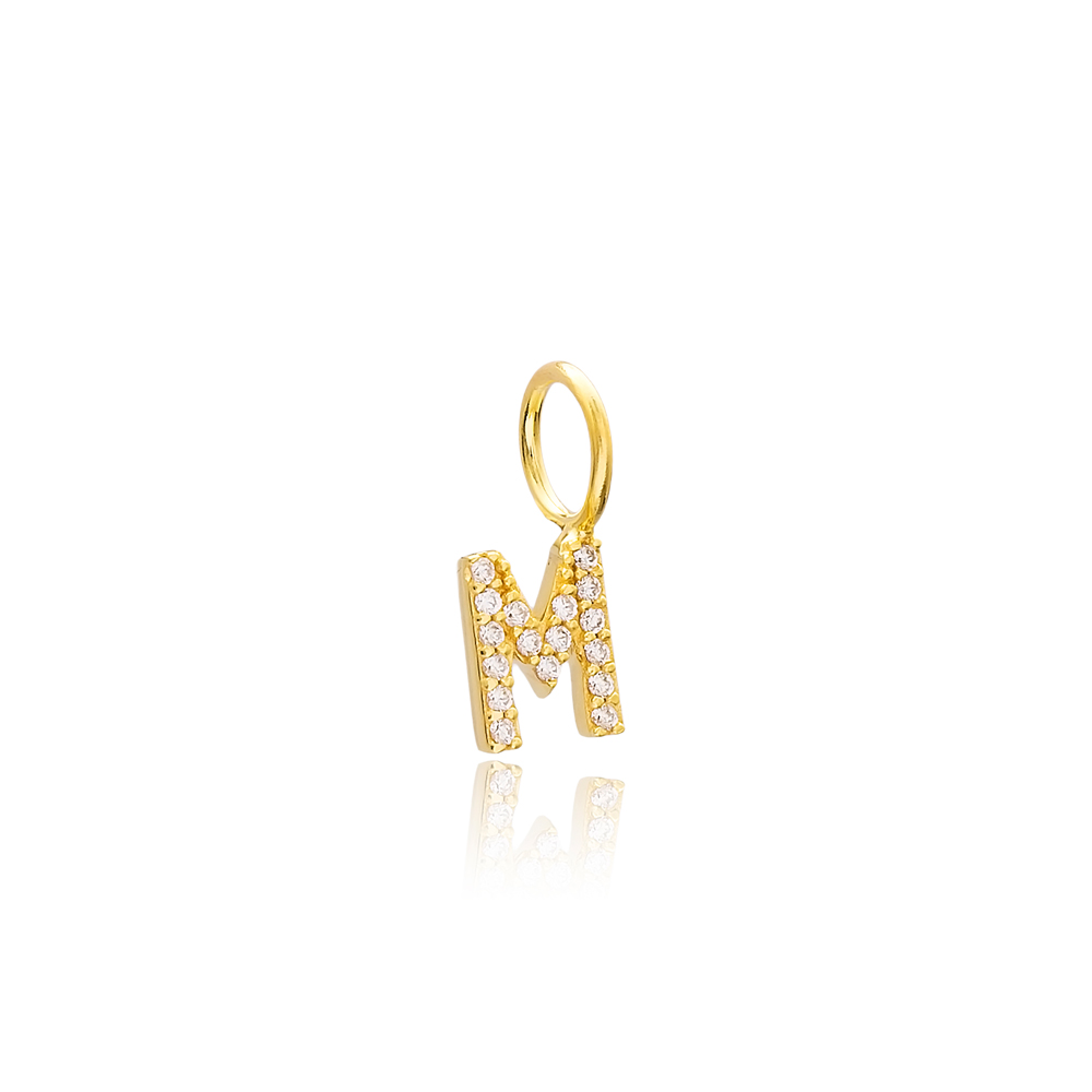 M Letter Charm Pendant Wholesale Handmade Turkish 925 Silver Sterling Jewelry