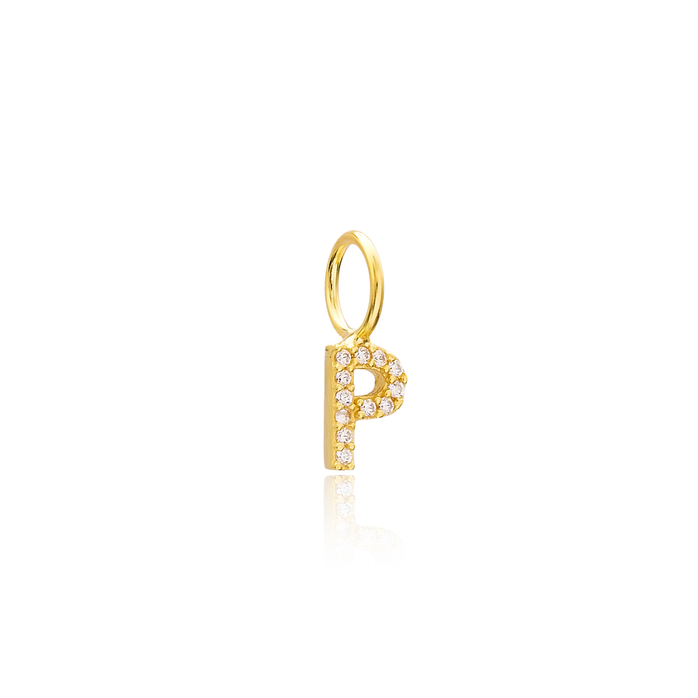 P Letter Charm Pendant Wholesale Handmade Turkish 925 Silver Sterling Jewelry