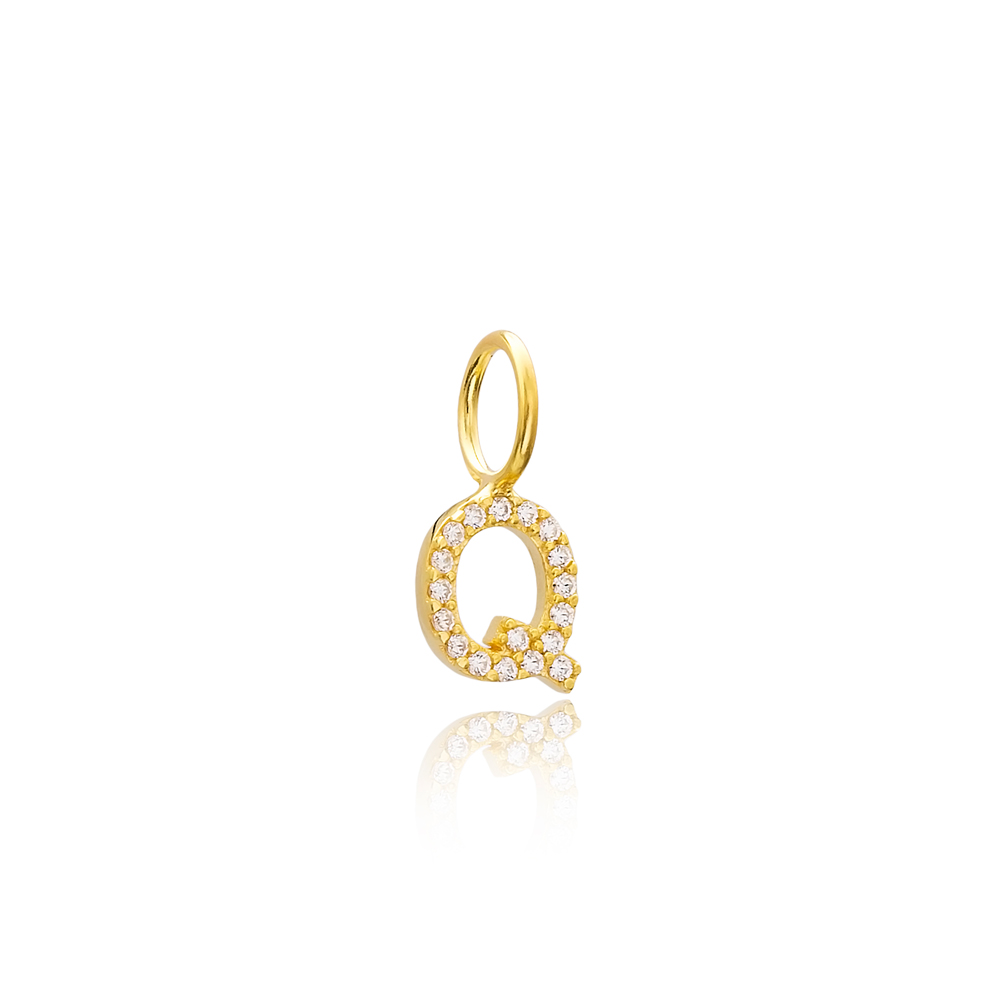 Q Letter Charm Pendant Wholesale Handmade Turkish 925 Silver Sterling Jewelry