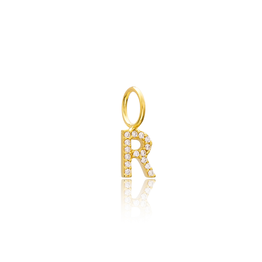 R Letter Charm Pendant Wholesale Handmade Turkish 925 Silver Sterling Jewelry With Hole Ø7 mm