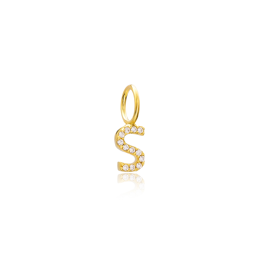 S Letter Charm Pendant Wholesale Handmade Turkish 925 Silver Sterling Jewelry