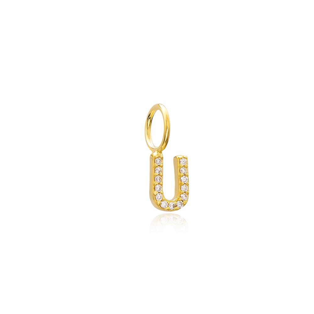 U Letter Charm Pendant Wholesale Handmade Turkish 925 Silver Sterling Jewelry