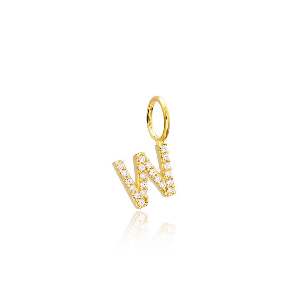 W Letter Charm Pendant Wholesale Handmade Turkish 925 Silver Sterling Jewelry